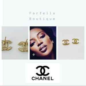 Authentic Gold tone & Crystal Chanel CC Earrings